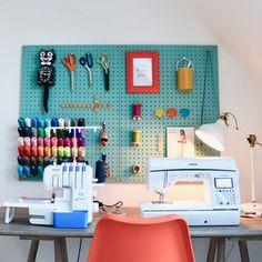 Sewing Nook, Sewing Room Design, Sewing Room Storage, Sewing Room Decor, Craft Room Design, Sewing Room Organization, Craft Room Storage, Organizing, Small Sewing Space