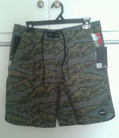 743b71d7fd Hurley Hawaiian Brown Camo Beach Pool Shorts Boardshorts Men's Size 31 NEW  #Hurley #Boardshorts