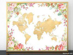 Printable colorful floral world map in gold foil #golden #colorful #bohodecor #GoldFoilMapInstantDownload #gold #floral #boho #BabyGirl #girly #GoldMap