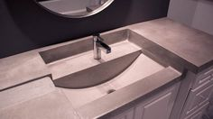 Customer Concrete Bathroom countertop with integral sink - made with CHENG Pro-Formula Mix in Stone, by Matt from Alberta