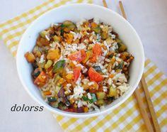 Blog de cuina de la dolorss: Arroz blanco salteado con calabaza y más verduras