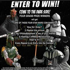THERE'S STILL TIME TO ENTER! Contest ends tonight!  WANNA' WIN A COOL STAR WARS COIN BANK? Of course you do! Who doesn't like free stuff!?! And even better -- who doesn't like free stuff for minimal effort?! Just repost this image! Tag us @petesbasement and two of your friends you think would like to know about this contest! Hashtag that bad boy #PBStarWarsContest! And that's it! Every post gets you an entry into the contest!  Drawing will be held on Friday December 18th 2015 affectionately…