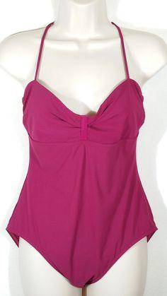 ede7acad4c CK Calvin Klein Women One Piece Swimsuit Straps Ruched Front Purple Jam  Size 12  CalvinKlein