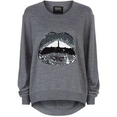Markus Lupfer Joey Sequin Lara Lip Jumper ($425) ❤ liked on Polyvore featuring tops, sweaters, markus lupfer, long sleeve sweaters, markus lupfer sweater, long sleeve sequin top and sequin sweater