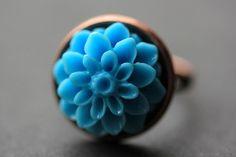 Baby Blue Mum Flower Ring. Sky Blue Chrysanthemum Ring. Baby Blue Flower Ring. Sky Blue Ring. Adjustable Ring. Handmade Flower Jewelry. by StumblingOnSainthood from Stumbling On Sainthood. Find it now at http://ift.tt/2135OXa!