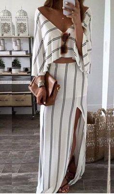 Stripe Deep V Neck Top And Slit Skirt
