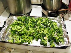 I know I have Pinned this before but we just had it last night and it is soooo good.  This is a favorite side dish with my Shrinking On A Budget Meal Plan subscribers. My husband says he would rather eat this than fries. I put 2 Tbsp. of olive oil in a ziploc with some minced garlic, salt and pepper and the broccoli and shake. Then spread on a cookie sheet and roast at 425 deg F for 20-25 minutes.""