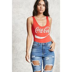 Forever21 Coca-Cola Graphic Bodysuit ($18) ❤ liked on Polyvore featuring intimates and shapewear