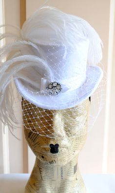 DeviantArt: More Like Bridal Victorian Mini Top Hat with Veil by ...