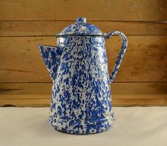 French Enamelware or Graniteware Coffee Pot w/ by ChicMouseVintage 1920s