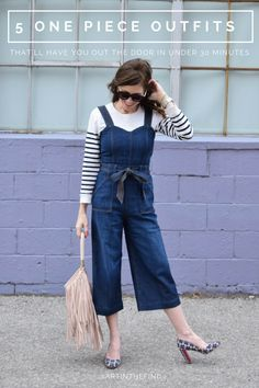 5 one piece outfits that'll have you ready in under 30 minutes   one piece outfit ideas   womens fashion   womens style   wide leg overall outfit   fall fashion   winter fashion   striped shirt pants outfit   overalls outfit   denim overalls women   street style