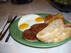 From Yours Truly Restaurants...a YT Sunrise Breakfast  Eggs, sausage, hash browns & ciabatta