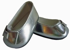 """Metallic SILVER BALLET FLATS Shoes made for 18"""" American Girl Doll Clothes"""