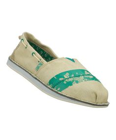 72005c5cddb Natural   Turquoise Distressed Bobs Chill Painted Shoe by BOBS from Skechers  Bob Shoes