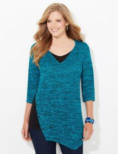 Autumn Rich Top | Catherines Our new fall top is unique with its contrast button design along the side. We added a matching insert at the V-neckline for a layered look that gives you extra coverage. The soft, stretch fabric comes in an eye-catching space-dye pattern. Three-quarter sleeves. Asymmetrical front. Catherines tops are perfectly proportioned for the plus size woman. #catherines #plussizefashion #fallfashion