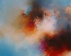 """Large Canvas Abstract Painting By Simon Kenny """" Helios """" Mixed Media"""