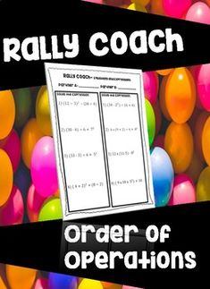 This product is for a RALLY COACH ORDER OF OPERATIONS worksheet. Each partner will complete 4 problems. This is the perfect size for this cooperative activity. Check out my other rally coach worksheet sets, too!