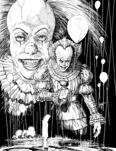 🎈🎈 Pennywise 🎈🎈 Arte Horror, Horror Art, Horror Movies, Freddy Horror, Clown Pics, Horror Drawing, Pennywise The Dancing Clown, Pretty Halloween, Halloween Coloring Pages