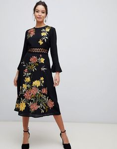 d2edc557d7e5 ASOS DESIGN | ASOS DESIGN embroidered midi dress with lace inserts and floral  embroidery Floral Midi
