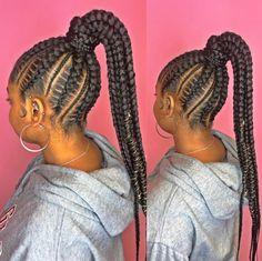 Feed In Braids Ponytail, Big Braids, Girls Braids, Braided Ponytail, Black Girls Hairstyles, Natural Hairstyles, Cute Hairstyles, Braided Hairstyles, Cornrows Updo