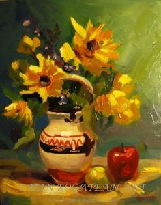 Fruit bowl and sunflower oil on canvas Sunflower Oil, Oil On Canvas, Art Gallery, Bouquet, Fine Art, Artist, Vaze, Painting, Art Museum