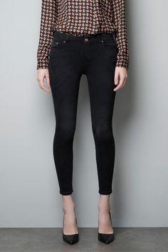 Zara faded black power stretch trousers