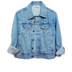 STARRY DAY DENIM JACKET (10535 DZD) ❤ liked on Polyvore featuring outerwear, jackets, tops, denim jacket, star jacket, blue denim jacket, blue jackets and jean jackets