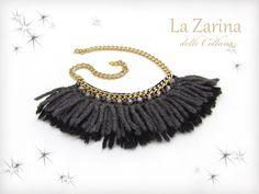 """Collana elegante in lana """"Cecilia"""" - Statement wool necklace with pendants from La Zarina delle Collane designs"""