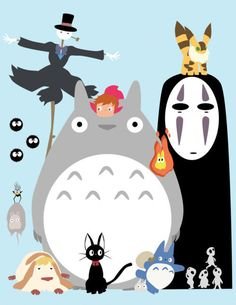 studio gihibli characters from Spirited Away, Totoro, Ponyo, and Howl's Moving Castle.