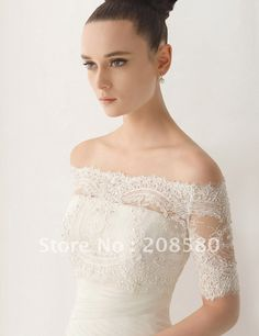 Off The Shoulder Beaded Lace Appliqued Tulle Half Sleeve Bridal Wedding Jackets Jacket J05-in Wedding Jackets / Wrap from Apparel & Accessories on Aliexpress.com