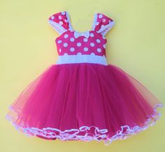 MINNIE MOUSE dress TUTU  Party Dress  in Hot pink Polka Dots super twirly  dress 1st Birthday party.