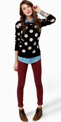 polka dot + burgundy jeans