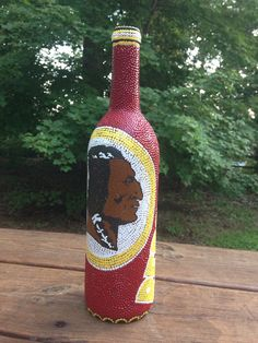 Hand Painted Wine Bottle Redskins Football /Dot Art  by DotArtCreations, $40.00
