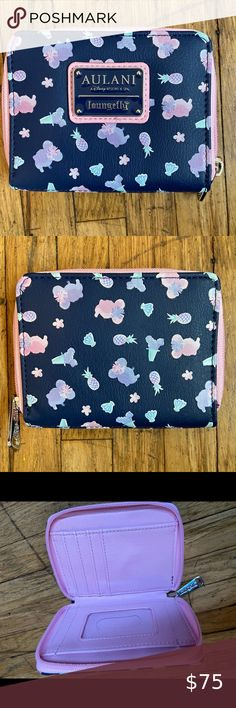 Loungefly x Disney Moana Pua the Pig Bifold Floral Wallet New w// Tags