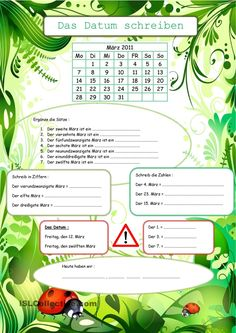Das Datum schreiben German Grammar, Learning Stations, Days And Months, German Language Learning, Birthday Calendar, Learn German, Worksheets For Kids, Getting To Know You, Homeschool