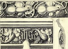 Stone stringcourses from York Minster and Westminster Abbey, drawn by Auguste Charles Pugin in 1831