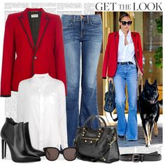 """""""Get The Look: Nicole Ritchie in a Bright Red Saint Laurent Jacket"""" by alaria on Polyvore"""