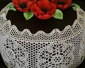 """Surprise your guests with a sophisticated and delicate embellishment on desserts.   You can use it as is to wrap or to drape your cake with, or you can cut it into 8 doilies (3"""") and 4 lace strips 1"""" x 13 1/2"""". Doilies can be used to refresh the look of your cookies or cupcakes, or let it float on the surface of freshly made aromatic cup of coffee or tea. It will melt within 1-2 minutes, just enough time to enjoy the look of it!"""