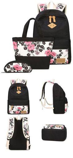 Unique Ink Wash Painting Pink Flower School Bag Girl's Black Canvas Large Floral Rose Student Backpack for big sale! #backpack #student #rose #floral #Large #flower #bag