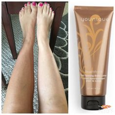 Love this new Beachfront self tanning lotion! No streaks, orange look or stinky smell! This is after one application on left leg and will continue to get darker over next 12 hours and will last approx. one week. #beachfront #tan #younique $39 @ www.MelissasMineralMakeup.com