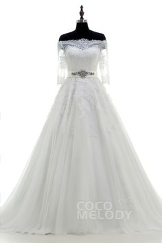 Delicate Off the shoulder Train Tulle Ivory Half Sleeve Wedding Dress with Appliques and Crystal LWWT15004