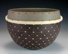 """Debra Oliva - Grid Bowl 8""""x7""""x7"""" Tri-color Stoneware"""