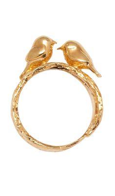 Love Birds Ring / Alex Monroe - wadulifashions.blogspot.com
