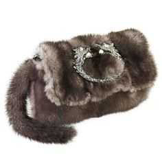 Gucci Tom Ford FW 2004 Dragon Pearl Jeweled Mink Fur Purse / Clutch | From a collection of rare vintage clutches at https://www.1stdibs.com/fashion/handbags-purses-bags/clutches/