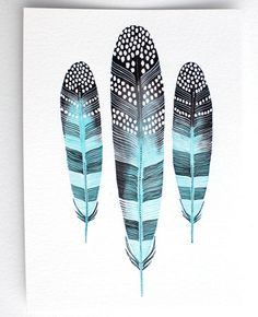 Feather Art Watercolor Painting Giclee Print Archival door RiverLuna