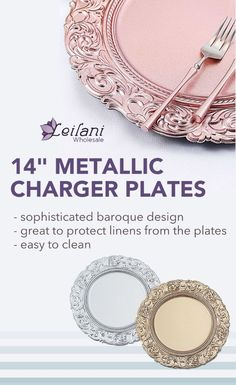 Featuring a sophisticated baroque design, these lightweight charger plates will enhance the appearance of your reception tables. #chargers #tablesetting Baroque Design, Gold For Sale, Dining Decor, Charger Plates, Reception Table, Plates And Bowls, Fine China, Event Decor, Party Supplies