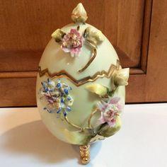 Vintage Porcelain Footed/Lidded Egg Trinket Box Large by Buyhsk