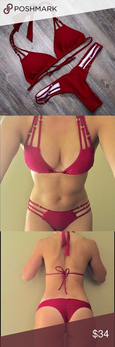 ❤️Brazilian Triangle Top String Bikini❣️ Sexy burgundy triangle top. Removable padding. Cute gold accents. Teeny bikini bottoms with minimal coverage. Currently only in XS and Small. Swim Bikinis