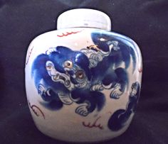 Antique White and Blue Foo Dog Ginger Jar with Lid Circa 1860