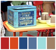 Living room color palette- not sure about red? Orange Color Palettes, Blue Colour Palette, Orange Palette, Living Room Orange, Colourful Living Room, Bedding Inspiration, Color Inspiration, Bedroom Color Schemes, Colour Schemes